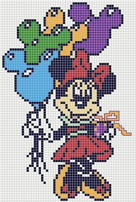 Minnie Mouse x-stitch | etamin çizgi film karakterleri | Pinterest ...