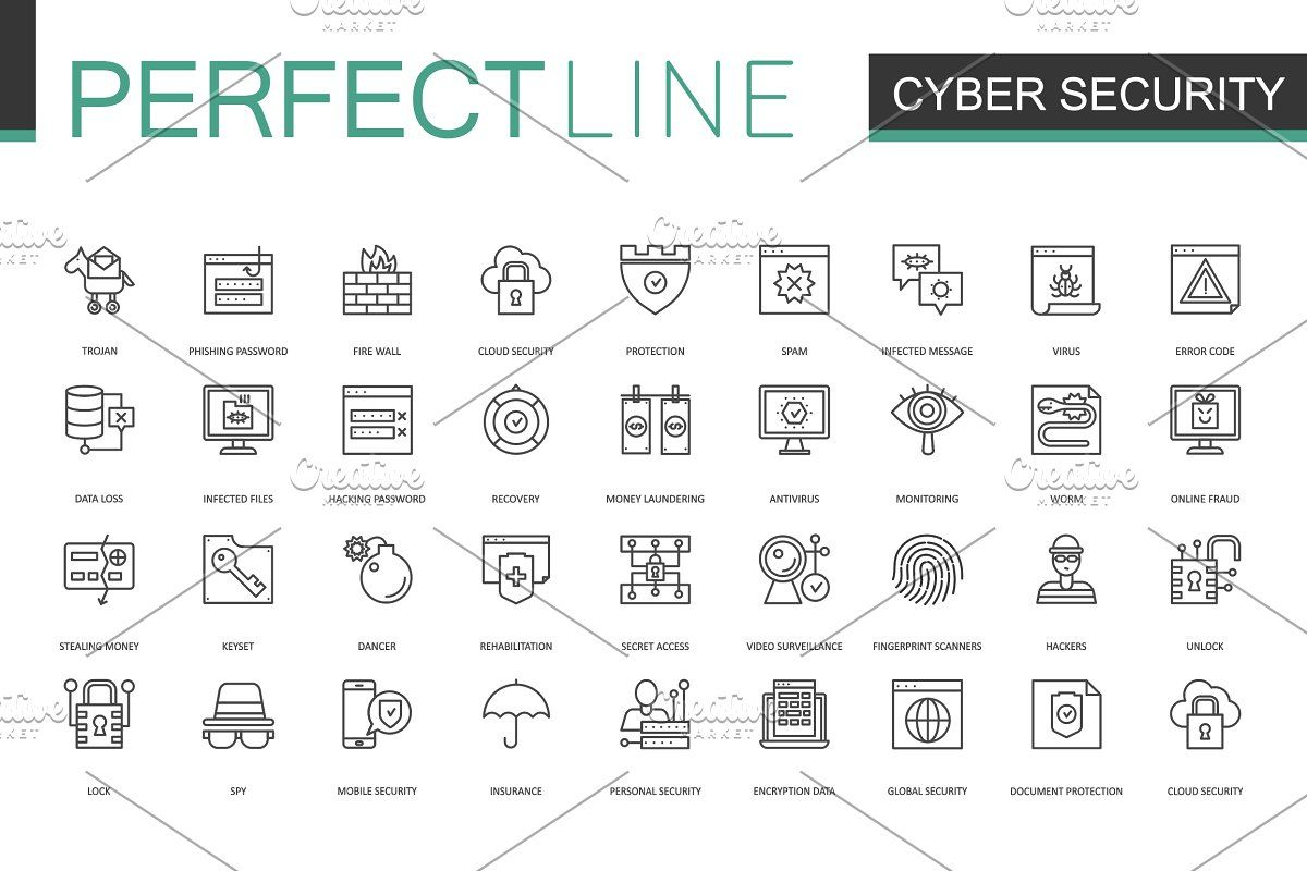 180 Perfect Line Icons Line Icon Icon Cyber Security