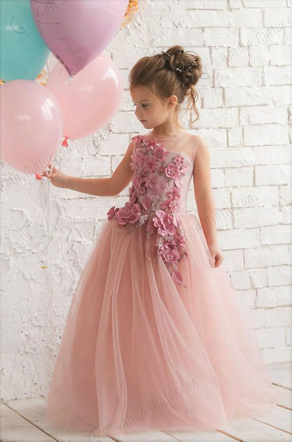 307369416 Pink Flower Girl Dress - Birthday Wedding party Bridesmaid Holiday Blush  Pink Tulle Dress Lace Flowe