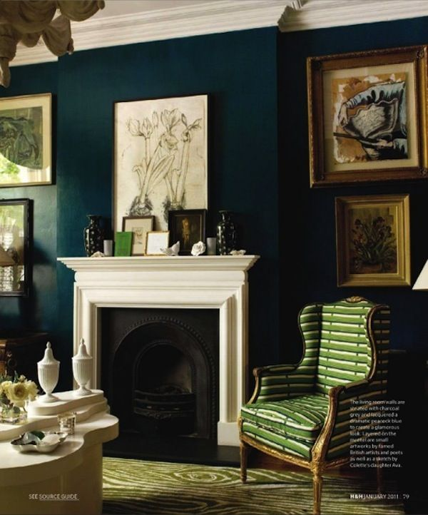 Navy Blue And Green Living Room paint color = farrow and ball's hague blue (perfect navy with a