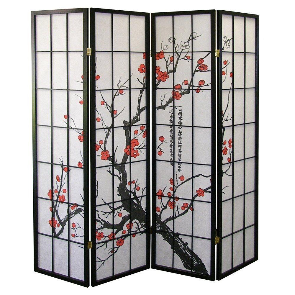 amazon com ore international black 4 panel plum blossom screen room rh pinterest com Decorative Folding Screens Room Dividers Folding Metal Screen Room Divider