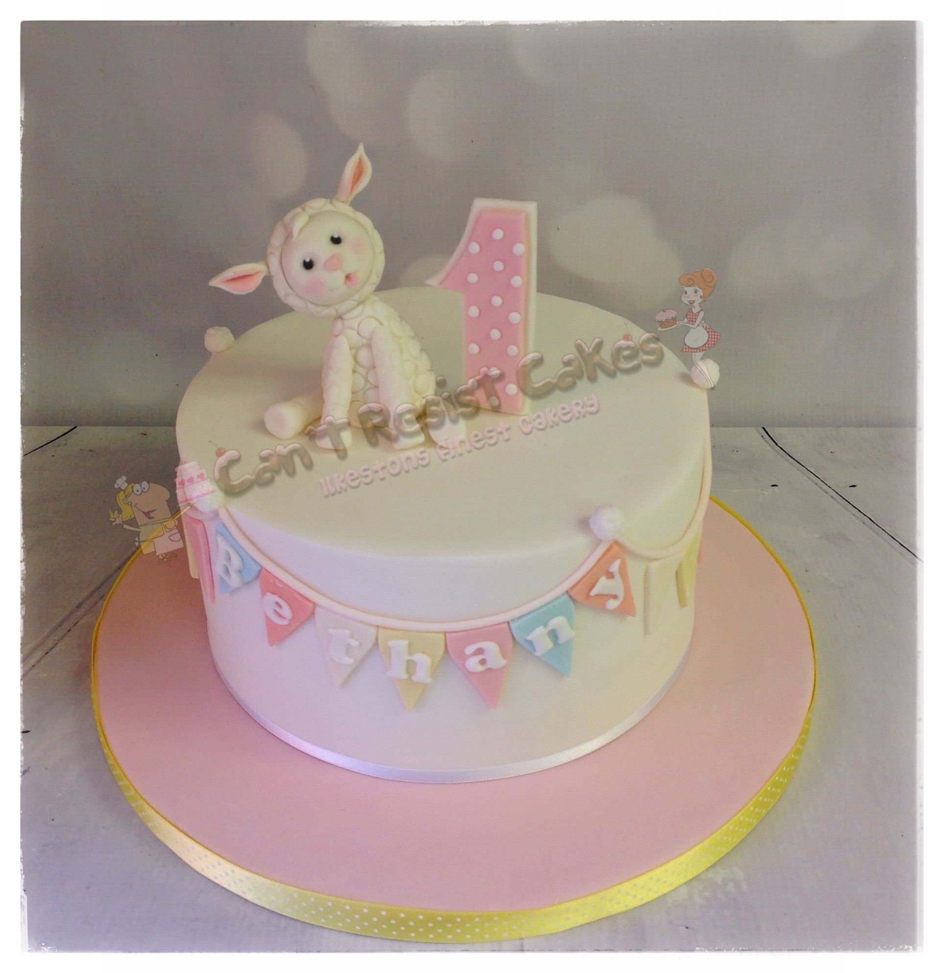 Enjoyable Cute Lamb 1St Birthday Cake With Images 1St Birthday Cake Birthday Cards Printable Inklcafe Filternl