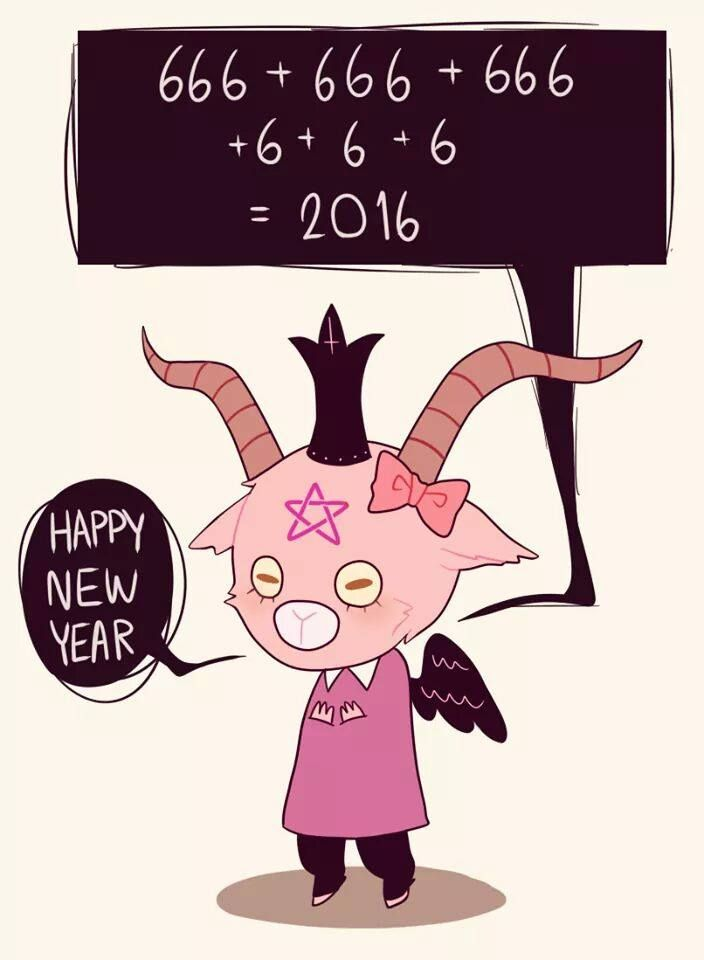 Happy New Year 2016 Creepy Cute Satan Cute Art