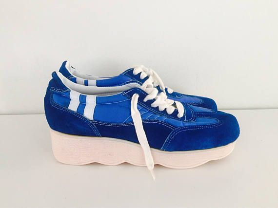 70s Platform Wedge Sneakers Blue Suede Tennis Shoes Leather White