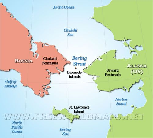Bering Strait   map, shows counties and continents | Bering