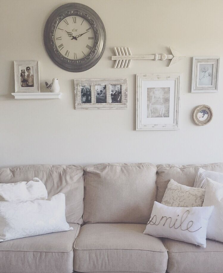 Use A Clock As Your Focal Point Work Around It Shelf For Dimension Arrows Break Up 90 Degree Angles Of The Frames Add Some Personal Photos