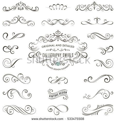 Vector Calligraphy Swirls Swashes Ornate Motifs And Scrolls