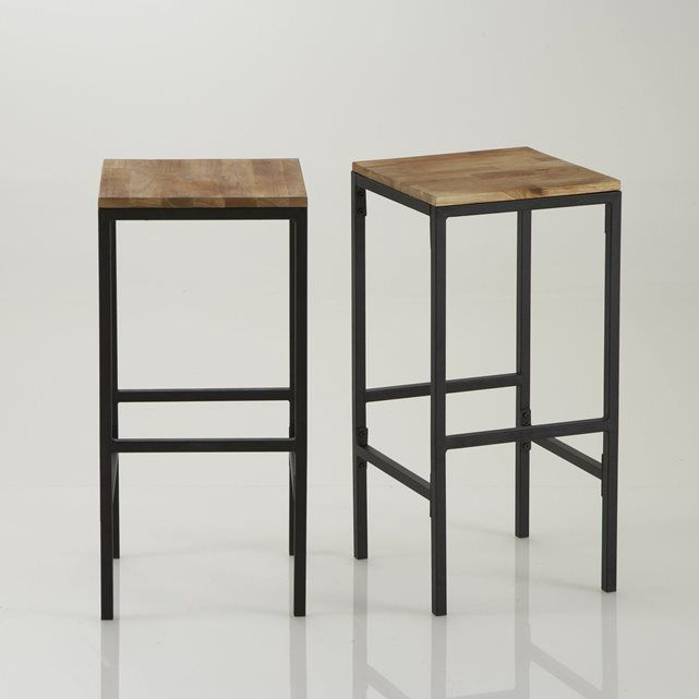 Tabouret de bar haut, forme carrée, Hiba (lot de 2 Bar, Breakfast