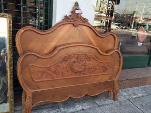 Antigua cama de 2 plazas francesa de madera tallada divina - Cama antigua de madera ...