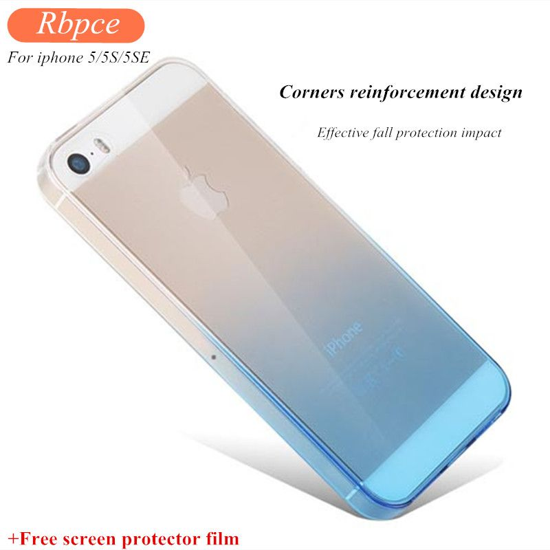 New Fashion Soft case for Iphone 5 5S SE Gradient color Design Slim TPU Transparent for cover iphone5 5s case+HD Protection film