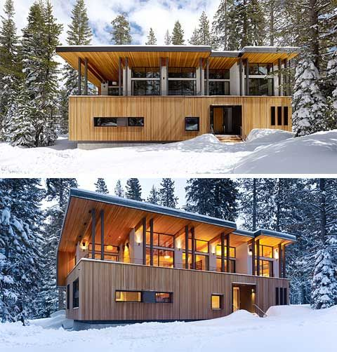 Modern Wooden Cottage Villa Design At Winter Mountain