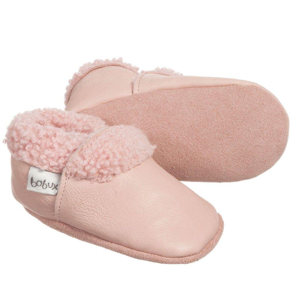 d2587b0b3716 BOBUX Girls Pink Leather   Fur Pre-Walker Boots