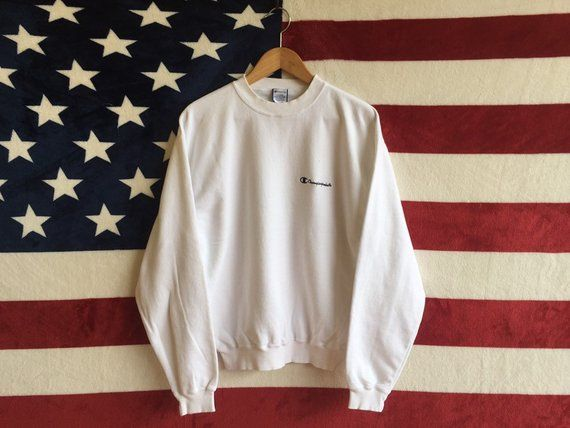 aff48ed5f41e7 Vintage 90s Champion Products Usa Sweatshirt True White Colour ...
