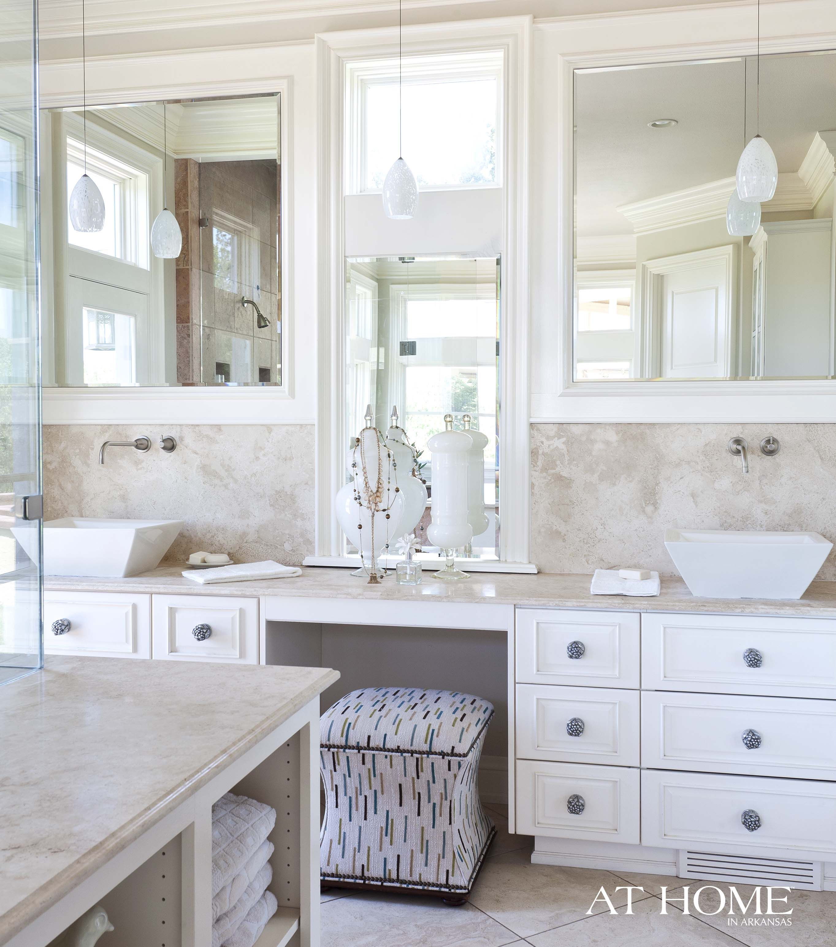 The vanity features his and hers sections as well and includes a