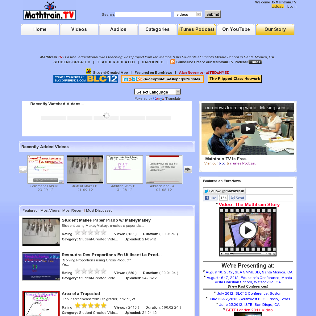 Mathtrain.TV Student Tutorials 7th grade math, Student