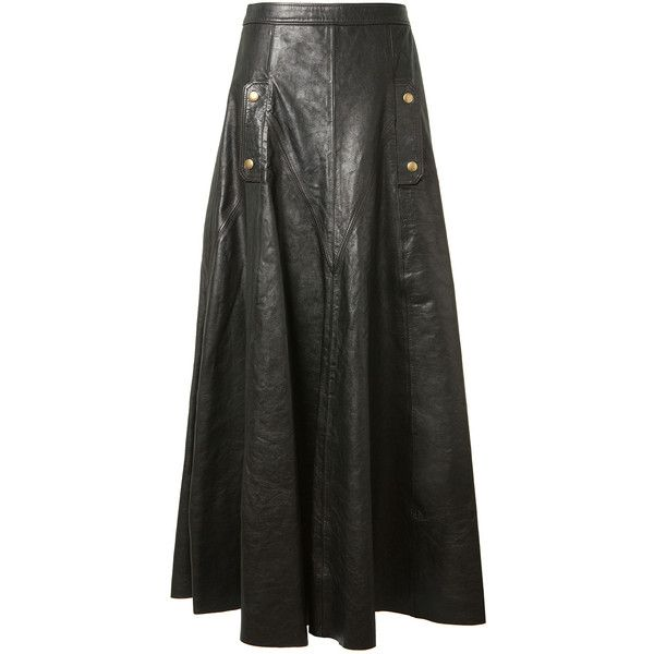 Chloé Black Leather Wide Long Skirt ($4,000) ❤ liked on Polyvore ...