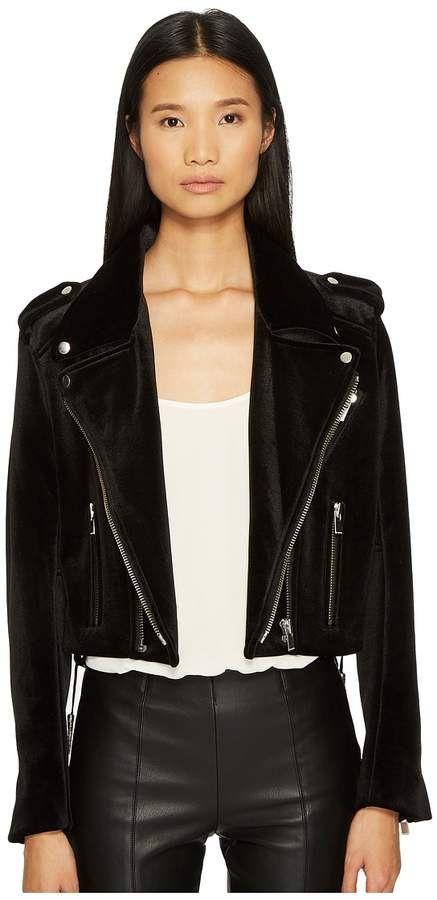 197cc55a16 The Kooples - Velvet Biker Jacket with Upturned Collar Women's Coat ...