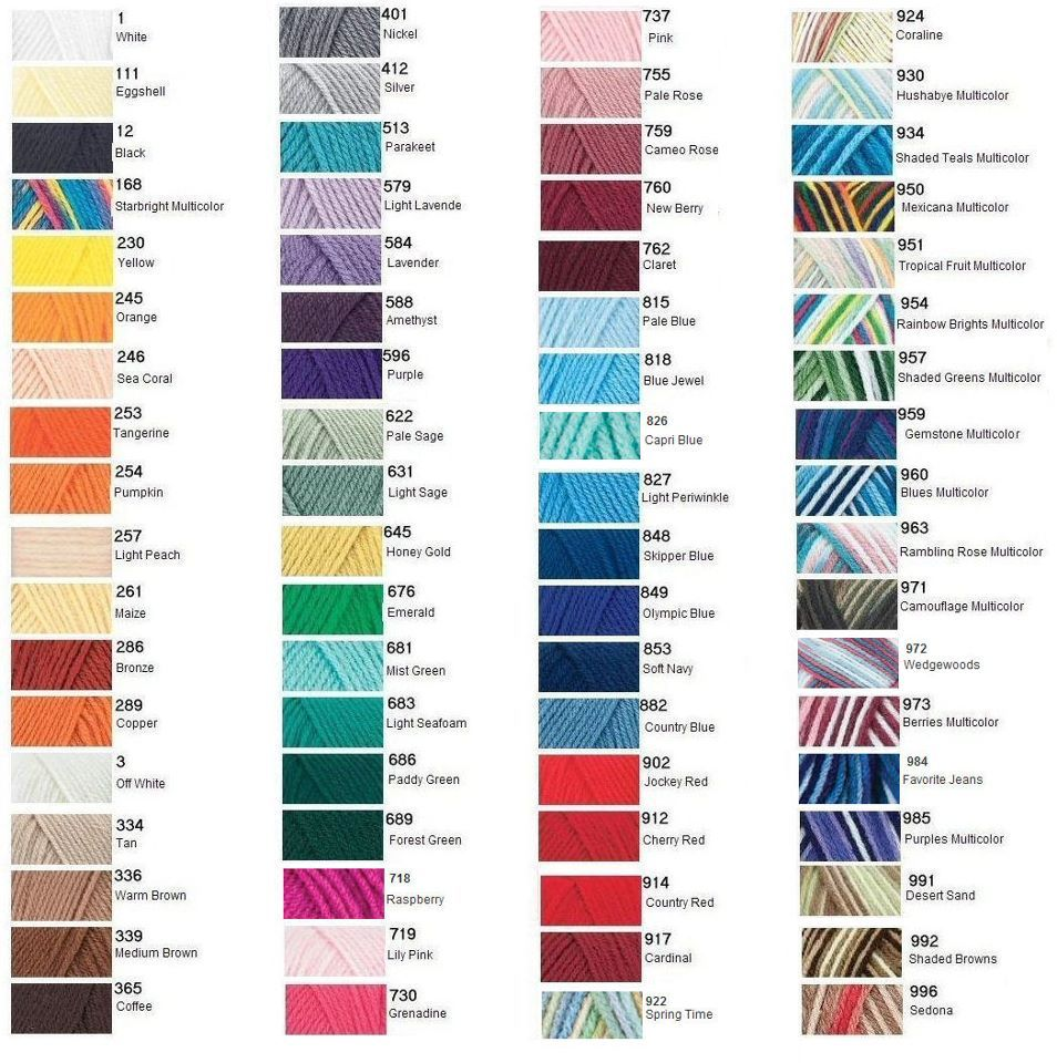 Love with Red Heart Yarn Color Chart | = yarn wishlist | Pinterest