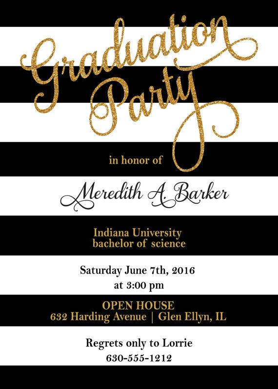 Stripes graduation party invitations gold glitter grad black white stripes graduation invitation by announceitfavors filmwisefo
