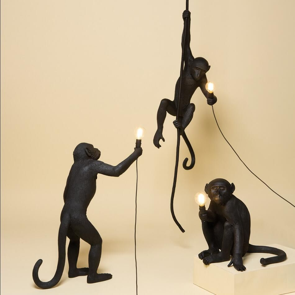Nordic Chernaya Smola Penkovaya Verevka Chernyj Obezyana Otkrytyj Podvesnye Svetilniki Lampy Dlya Motociklov Ceiling Lamp Black Rope Pendant Light Hanging Monkey