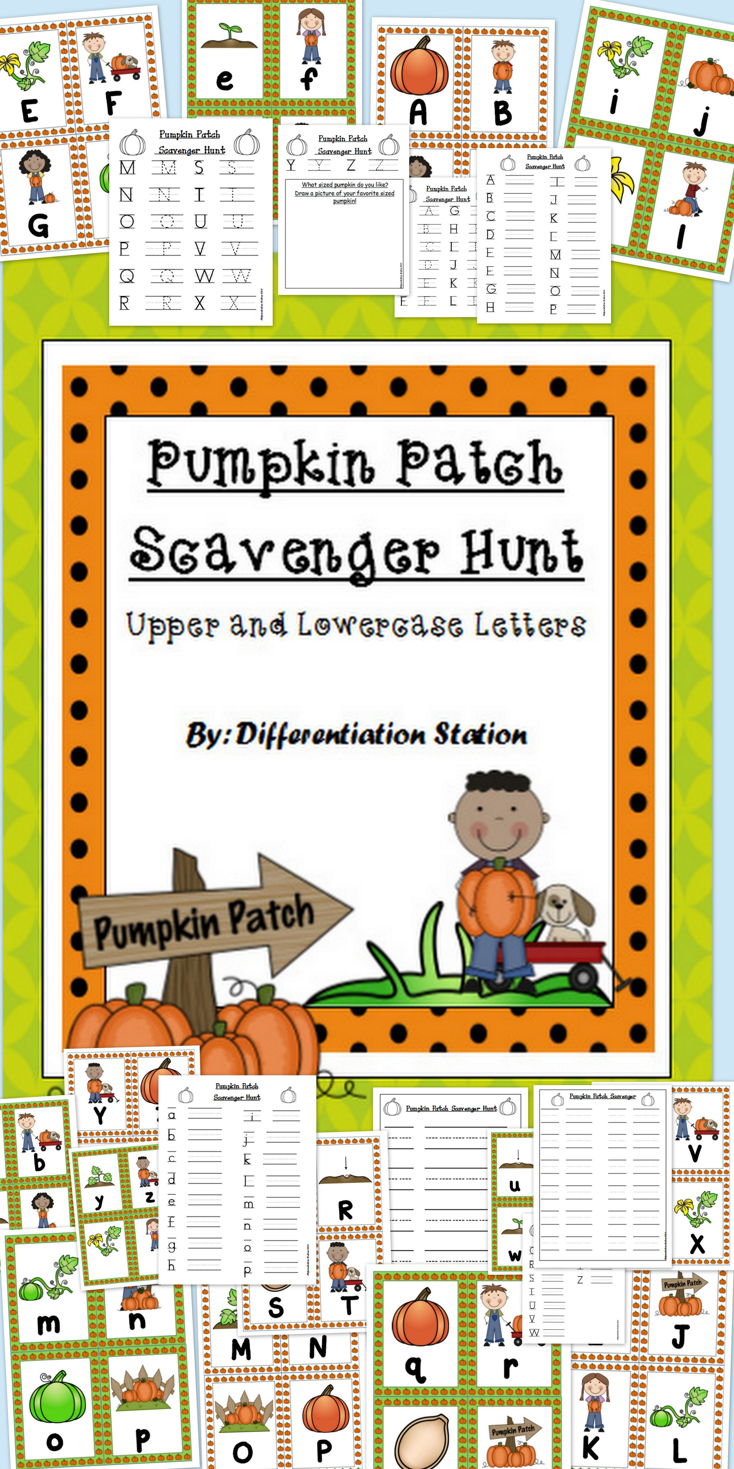 Pumpkin Patch Scavenger Hunt Upper And Lowercase Alphabet