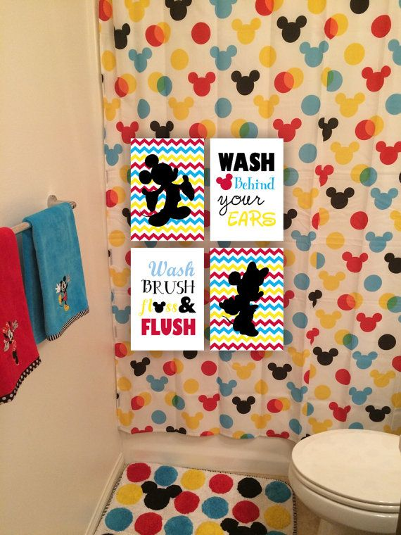 Instant Download Mickey Mouse And Minnie Mouse Bathroom Wall Art