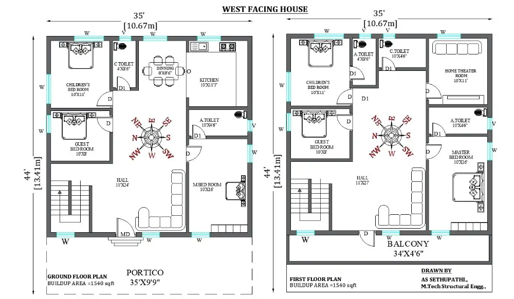35'x44' Perfect G 1 west facing home design as per vastu shastra Download now