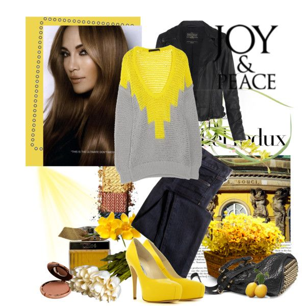 Love the oversized sweater and bold color. Everyone should own a pair of bright yellow heels