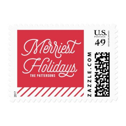 Red The Merriest Holidays Typography Christmas Postage - pattern - christmas cards sample