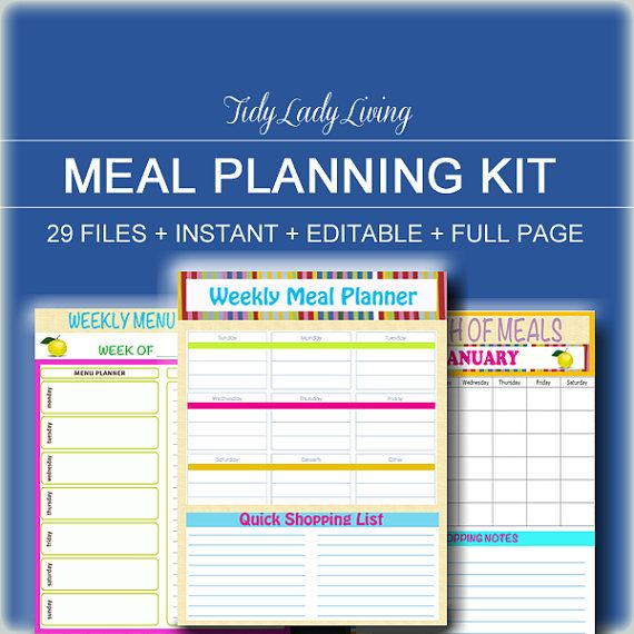 INSTANT And EDITABLE- Menu Planner Printables