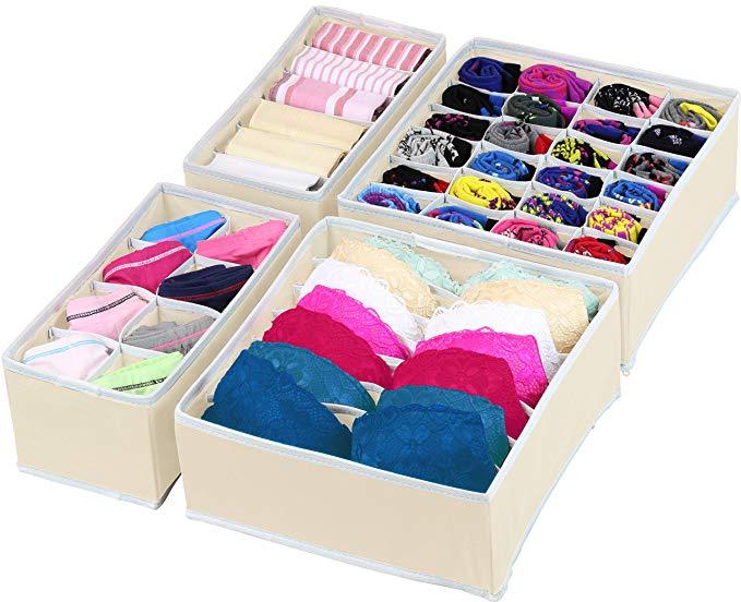 Einfache Haushaltswaren Schrank Unterwäsche Organizer Schublade Teiler 4 Set, Hautpflege Organisation ....