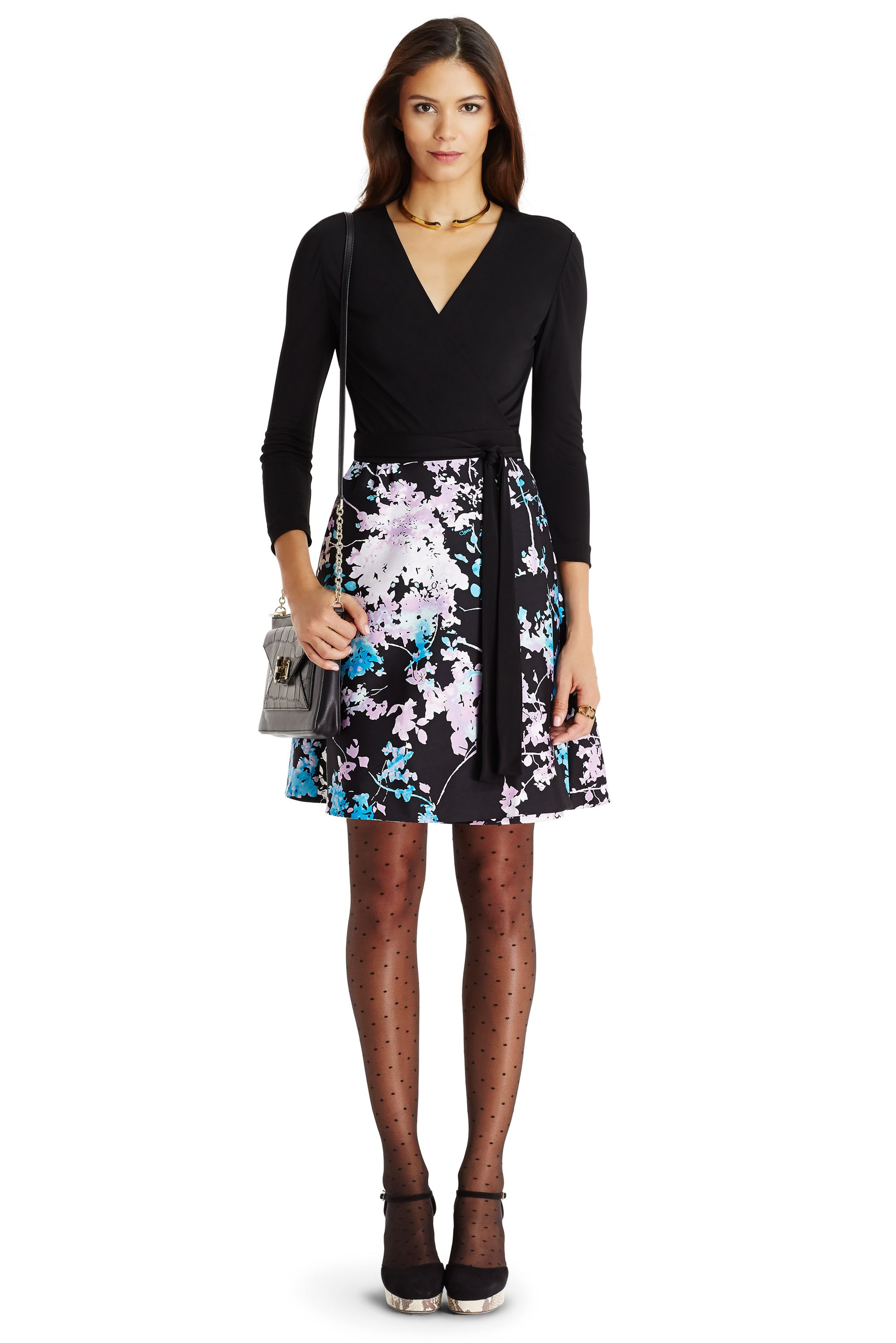 Dvf Valerie A Line Wool And Silk Wrap Dress In Black