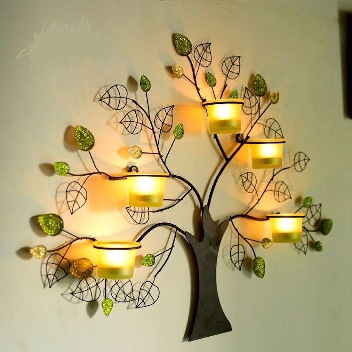 Creative Handmade Rustic Tree Shape Wind Candle Holder Wall Lamp Crafts Acces Candelabro De Parede Arte Decoracao Na Parede Arte Em Parede De Metal