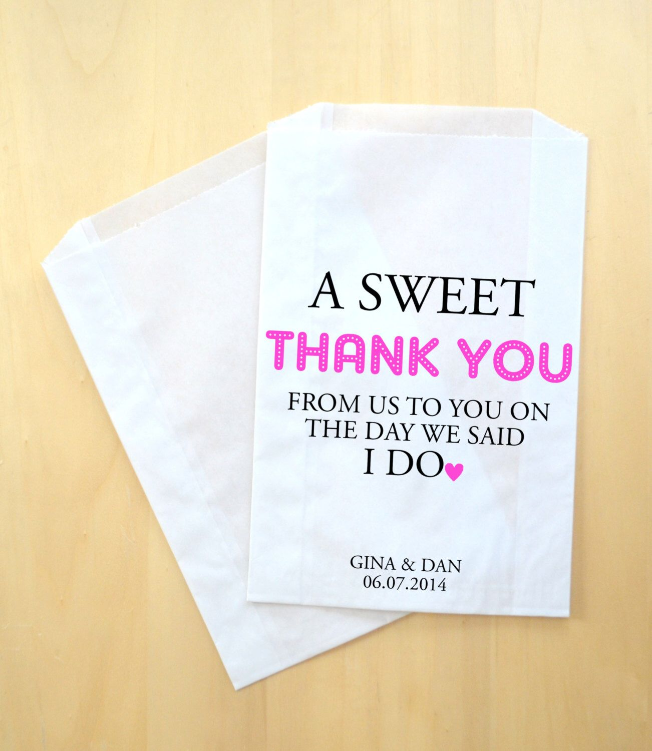 Sweet Thank You Custom Wedding Favor Bags ~ Personalized Treat Bags ...