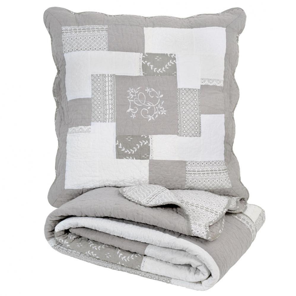 Boutis 2 Taies En Lin Gris 240 X 260 Cm Maisons Du Monde Pillow Cases Pillows Throw Pillows