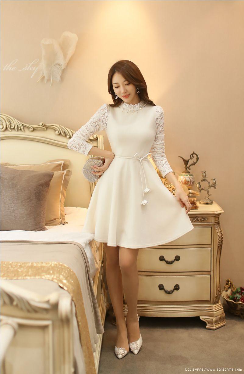 Pearl neckline lace sleeve flared dress beautiful dresses