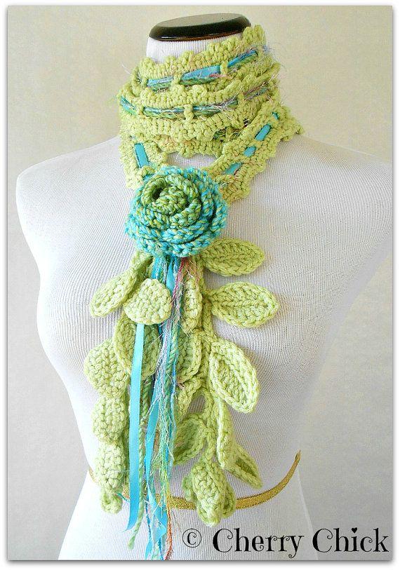 Rose Lariat Scarf Hand Crocheted in Blue by VintageCherryShop