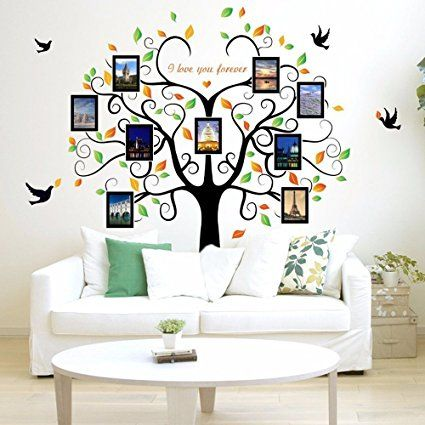 Family Tree Wall Decal 9 Large Photo Pictures Frames Easy To Install Apply History Decor Family Tree Wall Decor Family Tree Wall Art Family Tree Wall Decal
