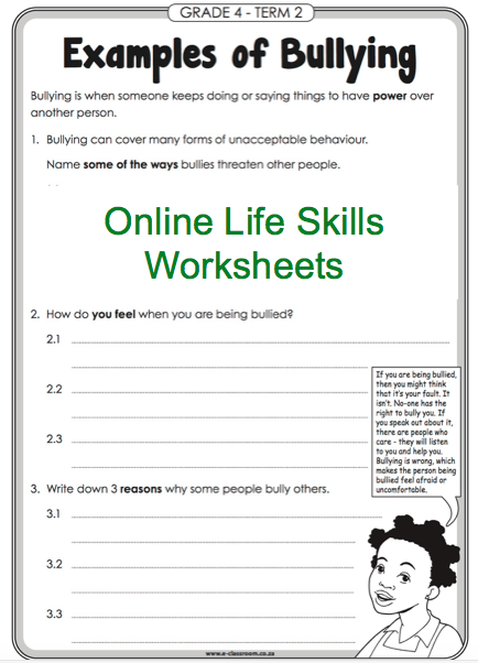 Grade 4 Online Life Skills Worksheet Bullying For More
