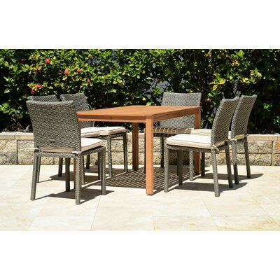 Charlton Home Cyr 7 Piece Dining Set With Cushions Patio Set Patio Dining Set Resin Patio