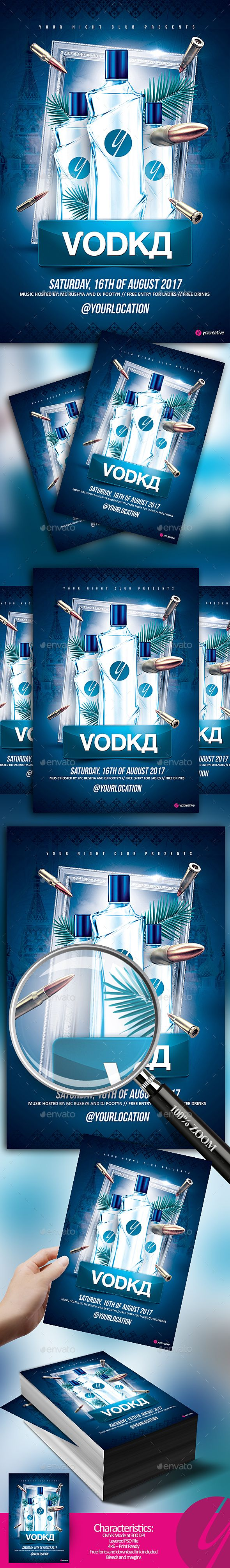 Russian Blue Vodka  Russian Blue Flyer Template And Food Menu Design