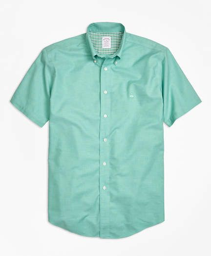 c844d298 Brooks Brothers Non-Iron Madison Fit Heathered Oxford Short-Sleeve Sport Shirt  American Eagle