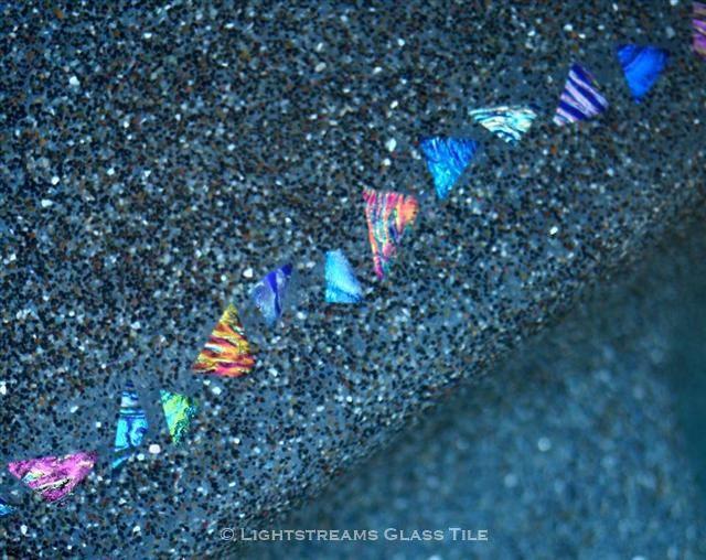 * Lightstreams Glass Tile | Shell Beach Glass Pool Step Tile