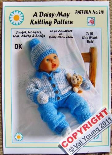 1 DOLLS KNITTING PATTERN for ANNABEL or 18 to 19 doll No.218 by ...