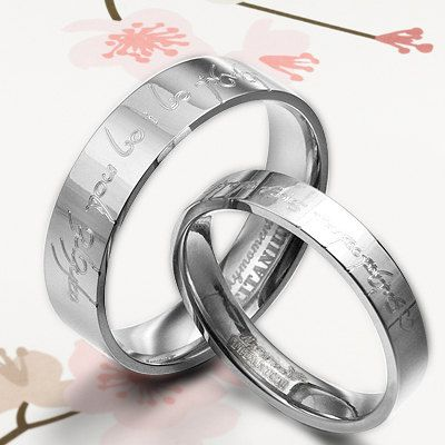 handmade groom lord of ring elvish matching wedding engagement titanium couple rings set flat comfort fit - Elvish Wedding Rings