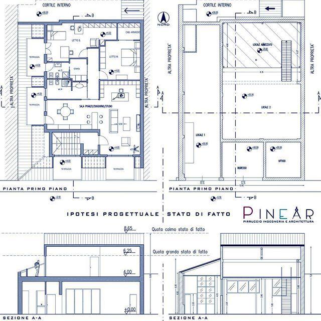 Planimetrie e sezioni relative ad un progetto di recupero for Planimetrie del paese di collina