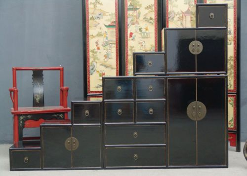 Commode escalier chinoise noir laquee bcp de place for Meuble chinois escalier