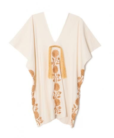 Cream Cotton Gold Mexican Embroidered Poncho Caftan