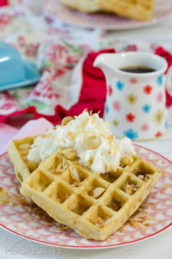 Coconut Macadamia Nut Waffles #waffles #breakfast #hawaii