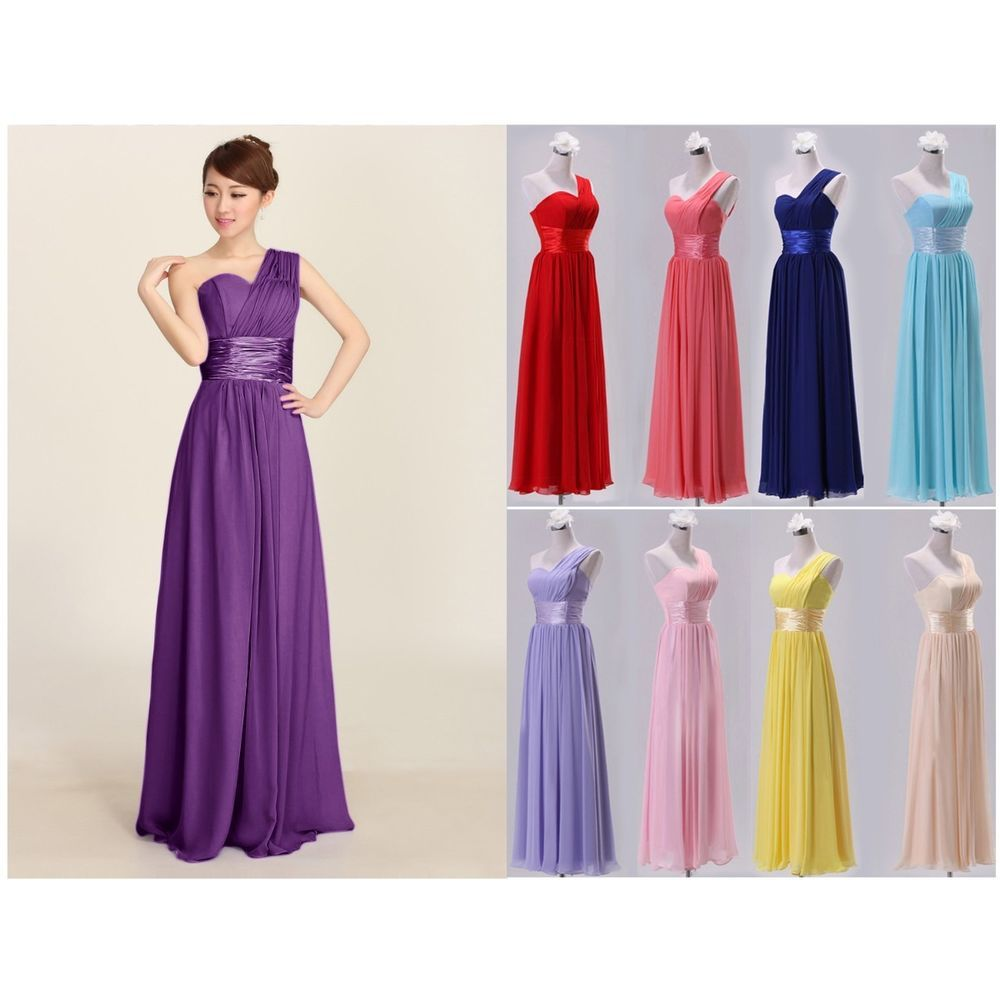 Dress for wedding evening party  Ladies Sweetheart Long Chiffon Prom Gown Bridesmaid Wedding